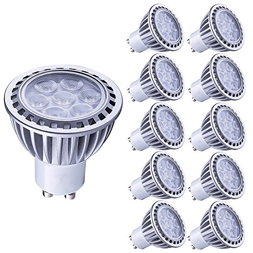 LAMPAOUS 7W GU10 LED bulb Light,Cool White Color 6000K, 500 Lumens, 50 Watt Halogen GU10 Lamp Enquivalent, 45 Degree Beam Angle,Non Dimmable, CRI>85, 10-Pack by LAMPAOUS