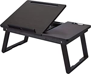 Laptop Bed Tray Multi Tasking Bamboo Lap Desk, Folding TV Tray Table, Smartphone Tablet Lap Tray for Homework Study Reading Eating Food Tray Table Black