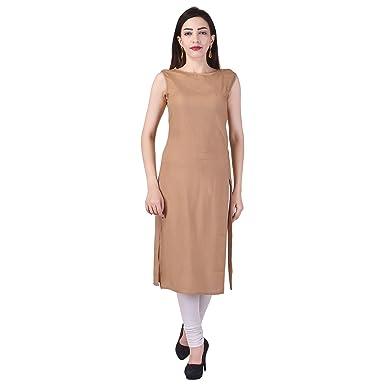 79270fa72e Vaachi Women's Silk Cotton Rayon Plain Sleeveless Boat neck side cut Kurti  (Beige, ...