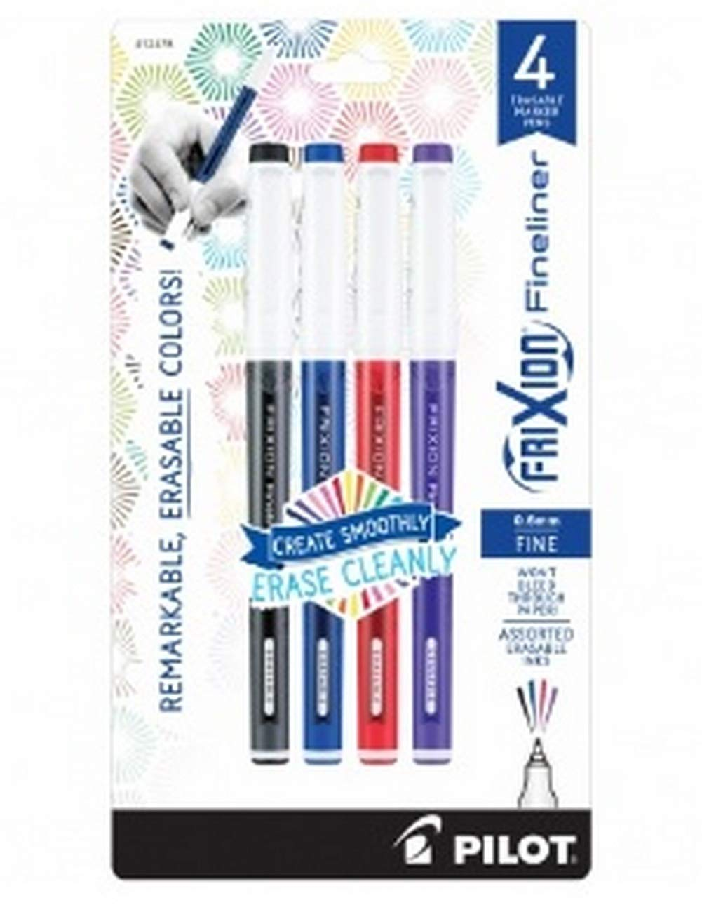 Pilot Frixion Fineliner Erasable Marker Pens, 4 pac [7Q86685N]