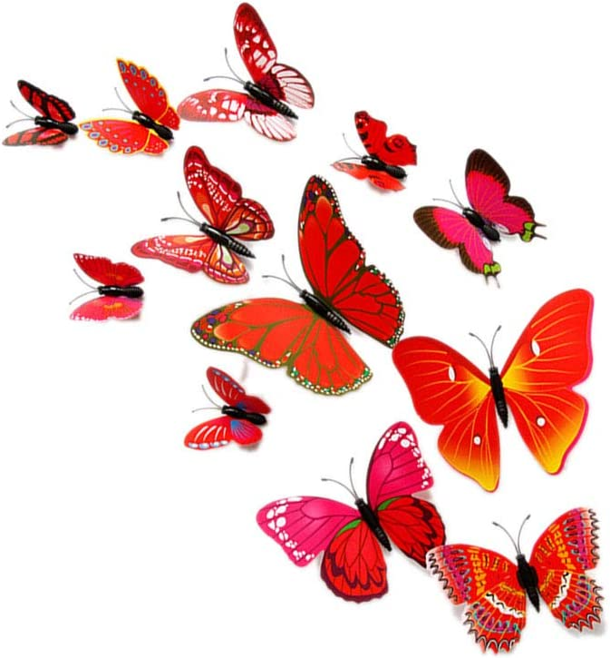 Deinbe 12PCS Set PVC 3D Forme Papillon Stickers muraux R/éfrig/érateur TV Fond D/écoration Bricolage pour Enfants Chambre Stickers muraux