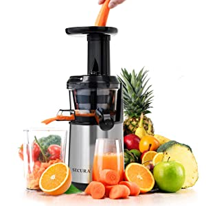 Secura Slow Juicer Masticating Juicer Big Mouth' Cold Press Juicer, Low Speed Juicer for High Nutrient Fruit and Veggies Juice