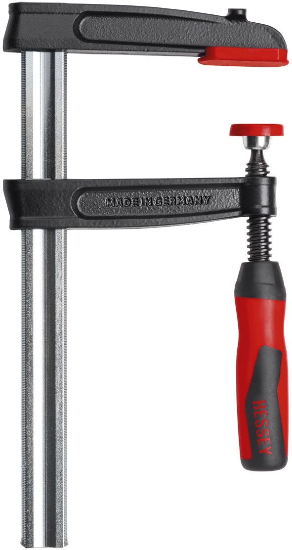 Bessey TPN16BE-2K Screw Clamp Tpn-Be-2K 6.3In/3.15In of Cast-IRON, Black/Red/Silver