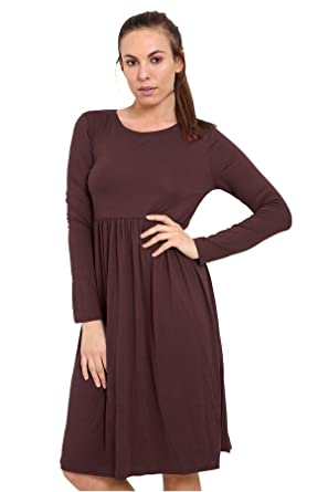 b64dfc9b1494 DigitalSpot Ladies Womens Jersey Dress Frankie Swing Dress Long Sleeve Midi  Dress  Amazon.co.uk  Clothing