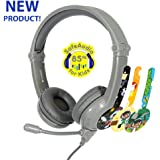 ONANOFF BuddyPhones Galaxy, Volume-Safe Gaming Headset for Kids, Detachable 3.5mm Jack with High-performance BeamMic, Perfect for gaming on a PS4, Xbox One, Nintendo Swith, or PC, Grey