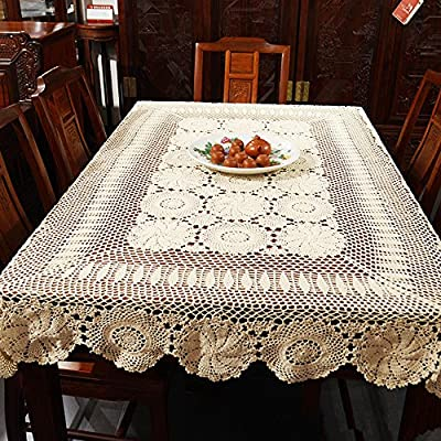 "USTIDE Rustic Floral Crochet Tablecloth Rectangle Beige Cotton Lace Table Overlays 51""x70"" - Material:cotton,high-grade fabrics. Size: Rectangular tablecloth.51inchesX70inches. Crochet, handmade process, really delicate and pretty - tablecloths, kitchen-dining-room-table-linens, kitchen-dining-room - 61hT7nJmdNL. SS400  -"
