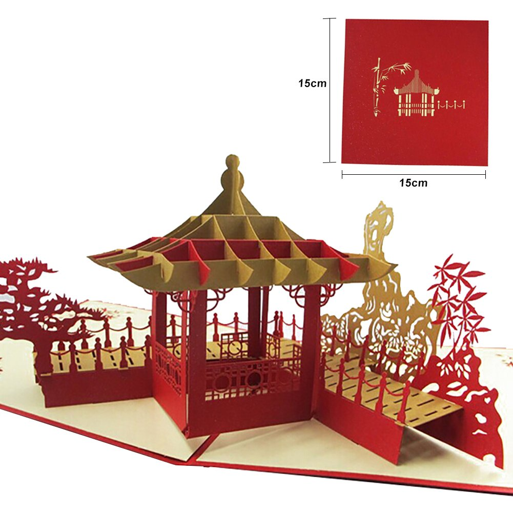 MORESAVE 3D Chinese style Handmade Paper Card Personalized Vintage ...