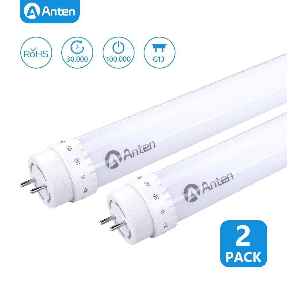 2 X Anten 60cm 10W T8 LED Tubo Fluorescente, Tubo LED 2ft Con El Enchufe