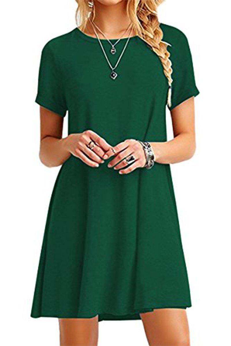 YMING Women Loose Mini Dress Short Sleeve Round Neck Flowy Comfy Dress Green S