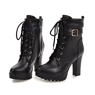 37df7d5e8959 Inornever Womens Ankle Buckled Bootie Fashion Round Toe Chunky High Heel  Platform Military Lace Up Martin