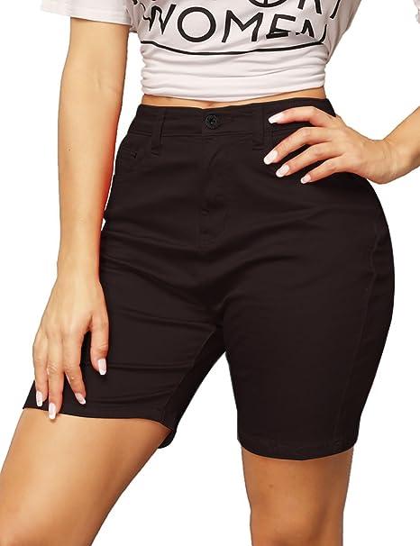 Amazon.com: haola Mujer Elástico Bermuda Shorts Verano ...