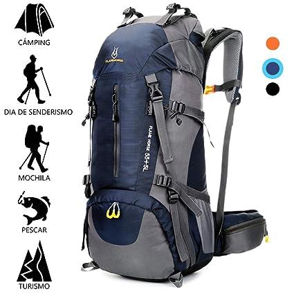 Mochila Resistente al Agua 60L (55+5) para Senderismo Montañismo Campamento Acampada Viaje Resistente al Agua de Lluvia para Deportes al Aire Libre