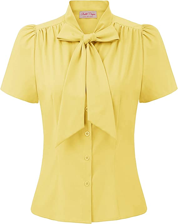 1940s Blouses and Tops Belle Poque Women Basic Tops Casual Shirts Short Sleeve for Work Office Lady 573 £22.29 AT vintagedancer.com