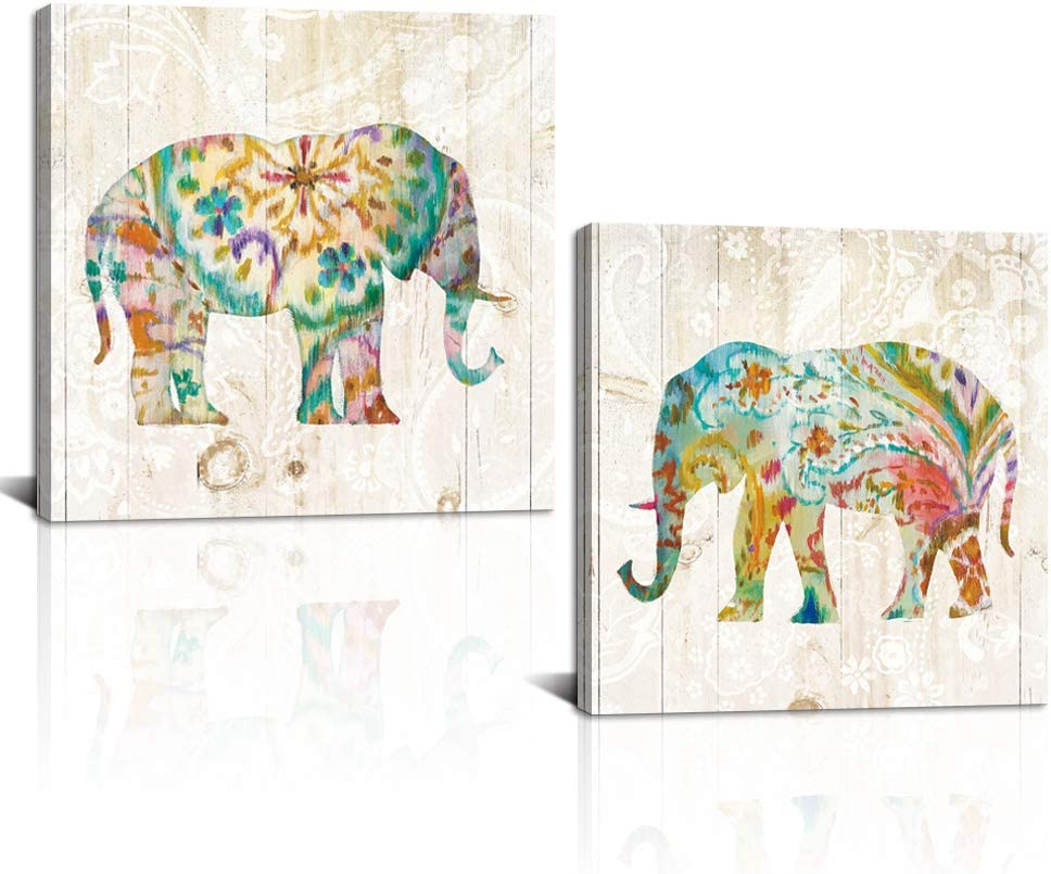 """DekHome 2 Panels Elephant Canvas Wall Art Boho Paisley Elephant Prints Colorful Animal Pictures Abstract Wildlife Artwork for Bedroom Living Room Decor Framed Ready to Hang 24""""x24""""x2pcs"""