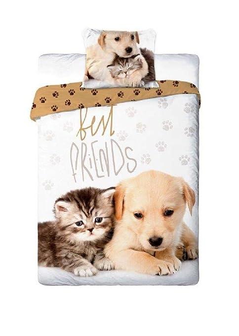 Best Friends - Juego de sábanas para cama individual con diseño de cachorro de perro y