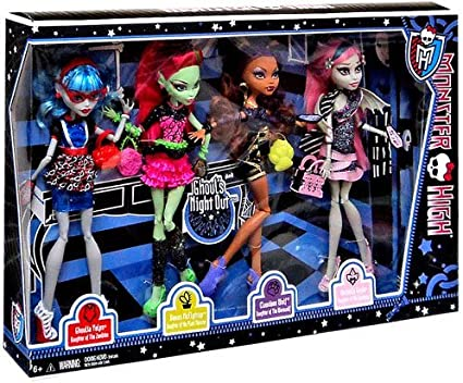 Amazon Com Monster High Ghouls Night Out 4 Doll Set Rochelle Goyle Clawdeen Wolf Ghoulia Yelps Venus Mcflytrap Toys Games