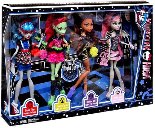 Monster High Ghouls Night Out 4 Doll Set Rochelle Goyle - Clawdeen Wolf - Ghoulia Yelps & Venus McFlytrap (Monster High Ghouls Night Out 4 Pack)