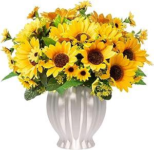 Homsunny Artificial Flowers in Ceramics Vase, Fall Silk Flower Arrangements, Faux Sunflowers Bouquets with Vase for Home Office Desktop Decoration (Stripe Ceramic Sunflower)