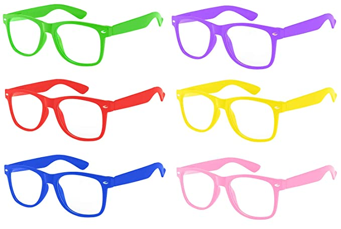 73a5a9015c9 Retro 80 s Vintage Clear Lens Sunglasses Colored Frame 6 Pairs for Every  Day OWL