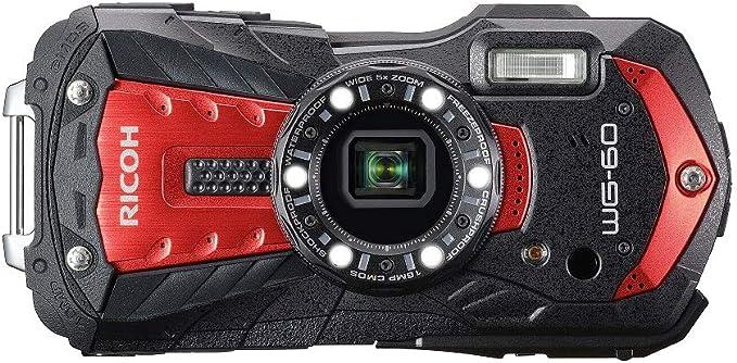 RICOH WG-60 Rouge Compact 16 Mp, étanche 14 mètres, résistant aux chocs (1, 60 m), mode sous-marin avec éclairage LED (x6) pour la macro photographie