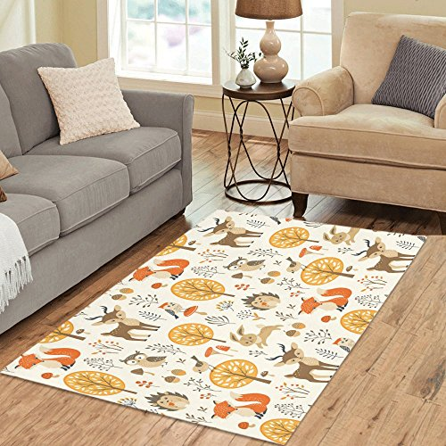 InterestPrint Custom Autumn Forest with Cute Animal Area Rug 5'3