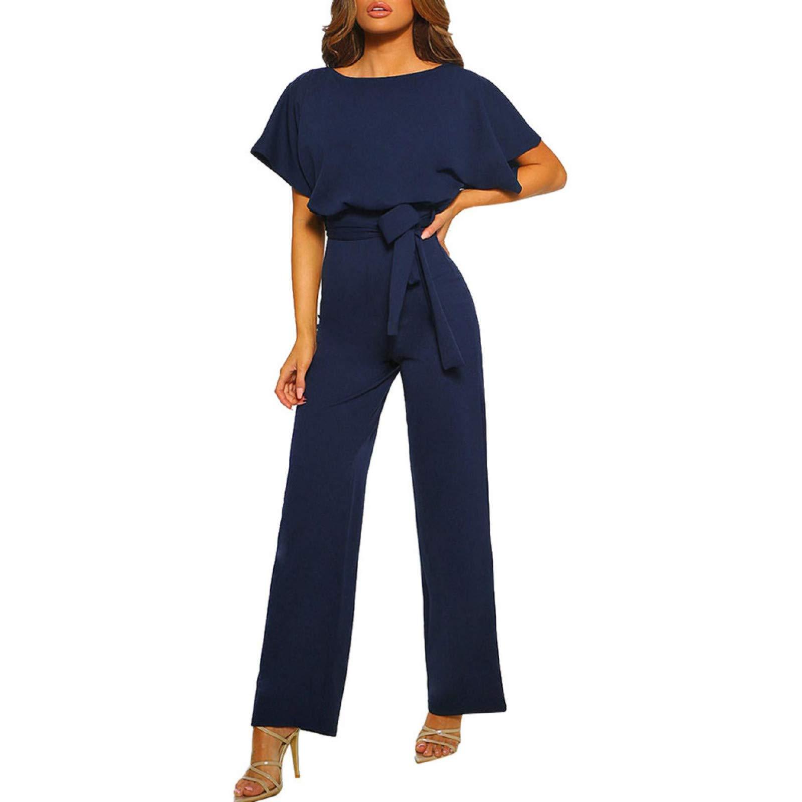 Women Short Sleeve Jumpsuit,Summer Women Short Sleeve Playsuit Club Wear Straight Leg Jumpsuit with Belt Navy