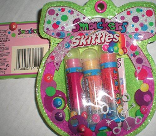 Skittles Lip Smackers Lip Gloss strawberry-mango-banana flavor 3 pack pouch