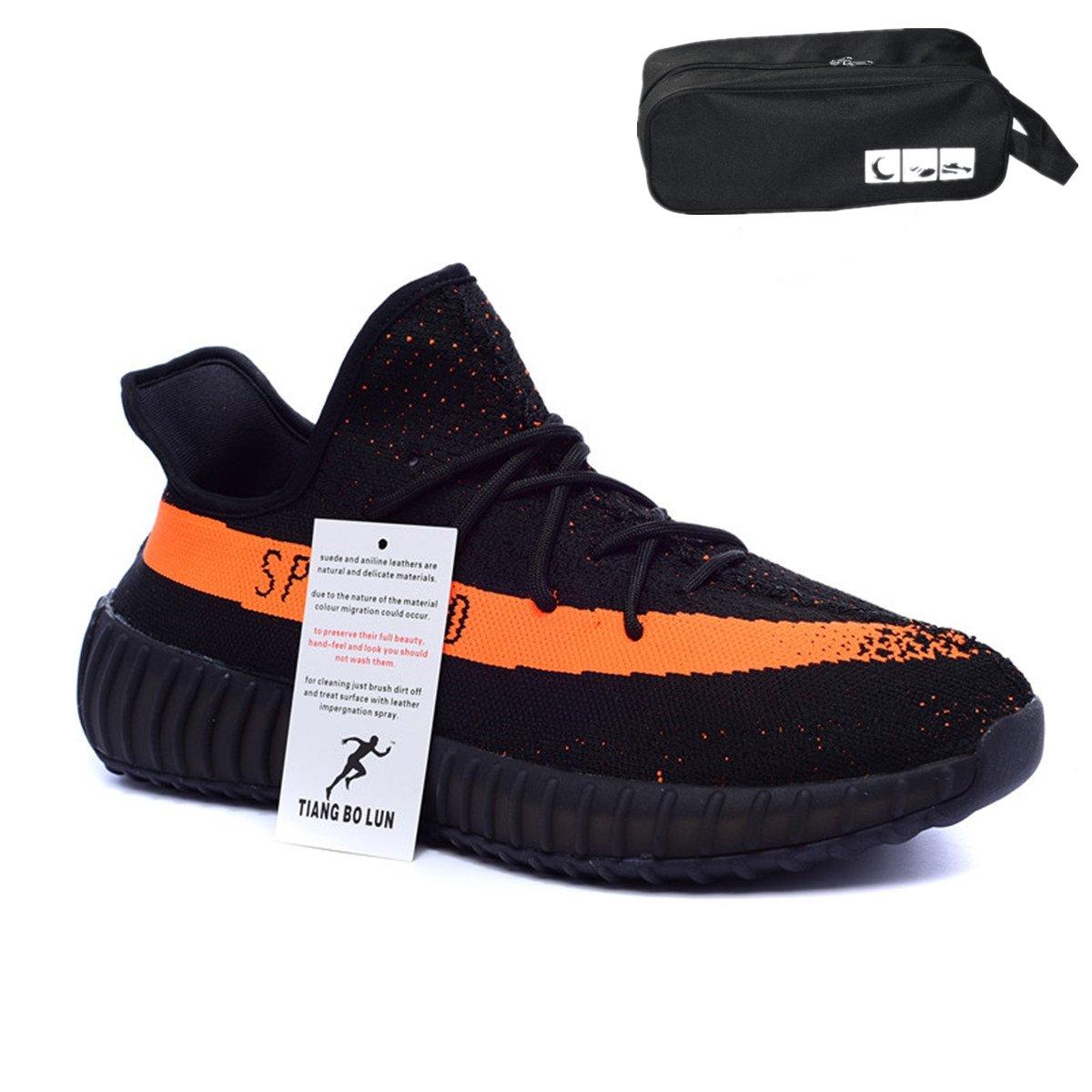 TIANGBOLUN 350 V2 Sneakers Destroyer Sneakers Lifting Size 12 Women's Sneakers Yeezy Men's Sneakers leeng Sneakers Enhancement Boost 350 Free Waterproof Bags (US_9.5/EUR_43/cm_26.5, Black Orange)