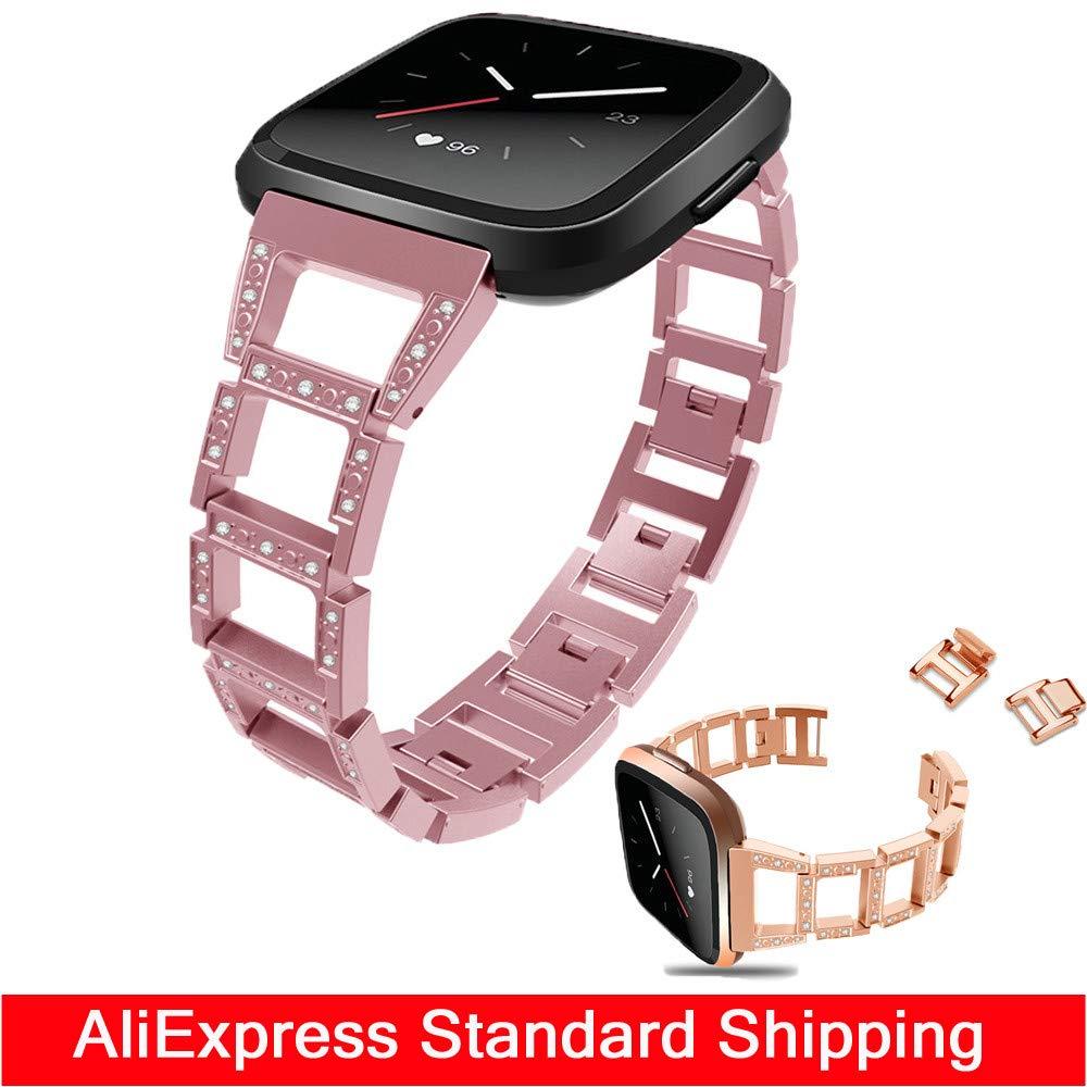 ... de Pulsera Bandas Reloj Fitbit Versa Compatible, Javpoo D-Link de Acero Inoxidable con Diamantes de imitación, 4 Colores Disponibles: Amazon.es: Relojes