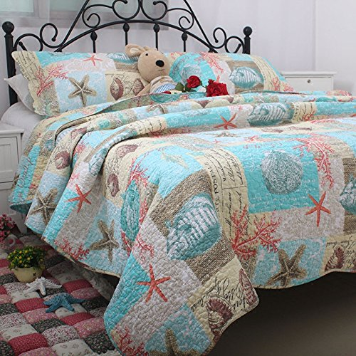 Brandream 3-Piece Designer Beach Theme Comforter Set Cotton Quilt Set Queen Size