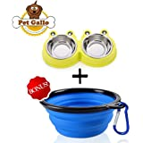 Pet Gallo Dog and Cat Bowls in Attractive Yellow and Blue. Made From Durable Silicon and Real Stainless Steel. Special Stabilization Features Keeps Bowls From Tipping. Easy to Clean, Built to Last