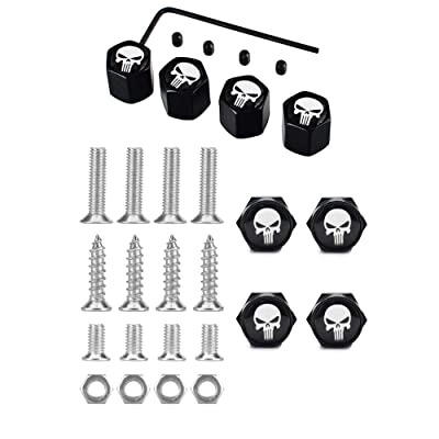 Dsycar Chrome Metal Skull Logo Anti-Theft Car License Plate Bolts Frame Screws- Gift 4 Free Skull Logo Tire Valve Stem Caps (Black-White): Automotive