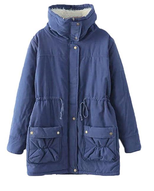 Scothen Abrigos de mujer con botones de palanca Chaqueta de lana con capucha Abrigo de invierno