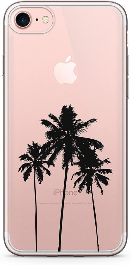 """uCOLOR Palm Tree Clear Case for iPhone 6S iPhone 6 Transparent Case for iPhone 8/7 SE (2020) Hybrid TPU Bumple + Hard Back Cover for iPhone 6S/6/7/8/SE 2nd(4.7"""")"""