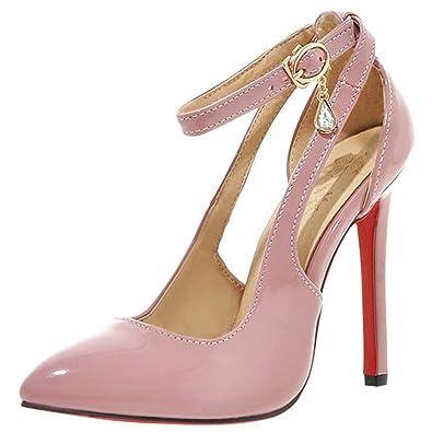 Agodor Damen Ankle Strap High Heels Stiletto Pumps mit Riemchen und Spitze Lack Elegant Schuhe