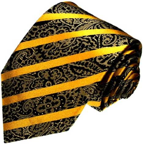 LORENZO CANA - Luxury Italian 100% Silk Tie Gold Black XL Extralong- 4205099