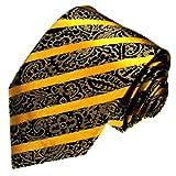 LORENZO CANA Luxury Italian 100% Silk Tie Gold Black Yellow Paisley Woven 42050