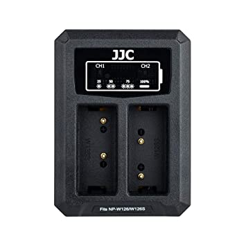 JJC Cargador de Batería Dual USB para Fujifilm X-PRO2 X-PRO1 X-H1 X-T3 X-T2 X-T1 X-T20 X-T10 X-A5 X-T100 X100F Cámaras Reemplaza Fuji NP-W126/NP-W126s