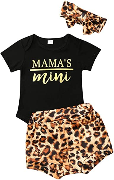 Summer Newborn Infant Baby Girl T-Shirt Tops+Leopard Shorts Pants Outfit Clothes