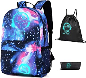 FLYMEI Galaxy Backpack with Drawstring Bag & Pencil Case for Boys/Girls, Cool Anime Backpack for Boy Lightweight Luminous Backpack 15.4 Inch Laptop Bag for Work, Casual Bag for Teens