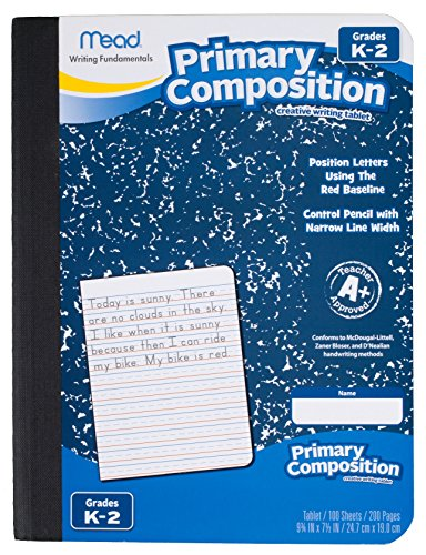 Mead Composition Books / Notebooks, Primary, Grades K-2, Wide Ruled Paper, 100 Sheets, 9-3/4