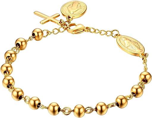 Damen Armschmuck Armband Rosenkranz Kette Edelstahl Gott Kreuz Maria Silber