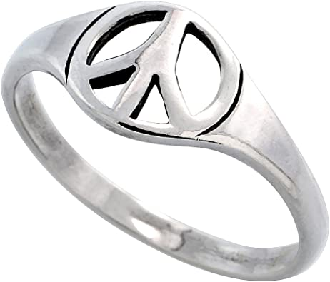 Peace hand stamped ring Adjustable peace sign ring.
