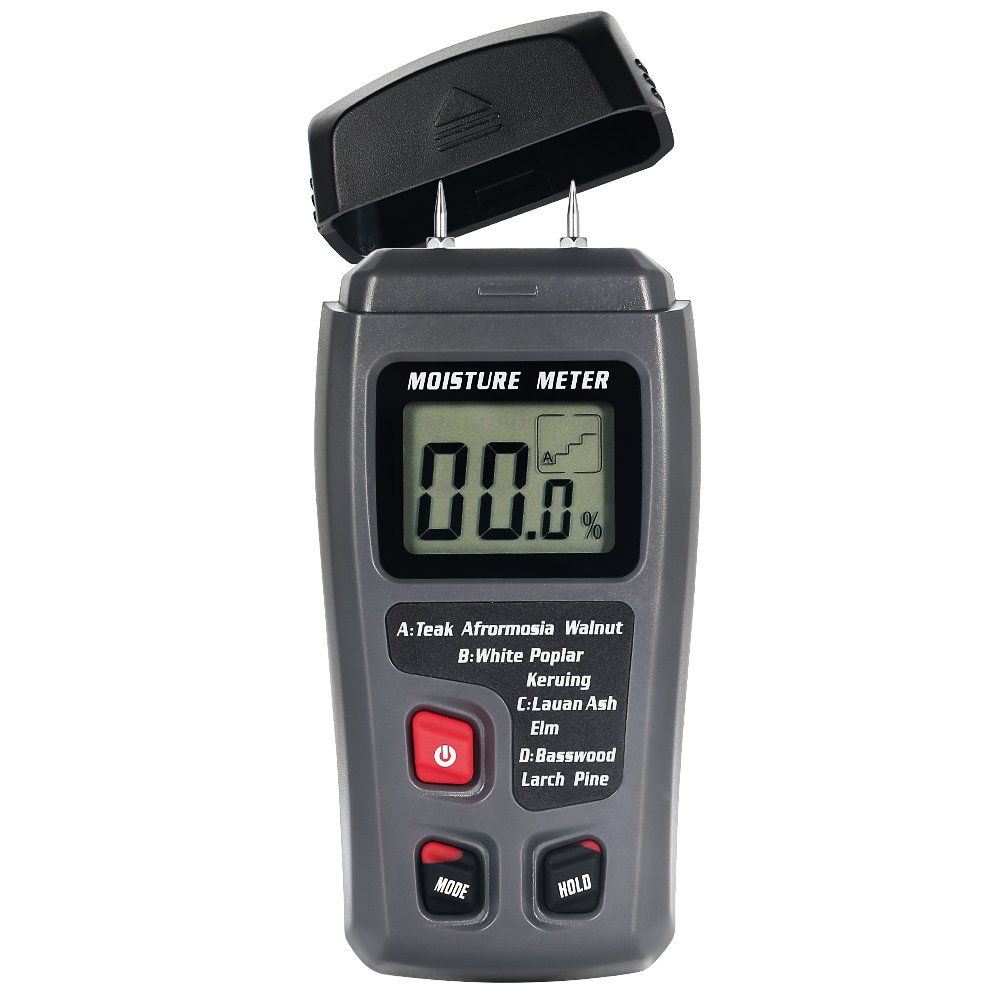 Dostyle Digital Wood Moisture Meter, Portable 2 pins Moisture Tester Detector with LCD Display (Grey)