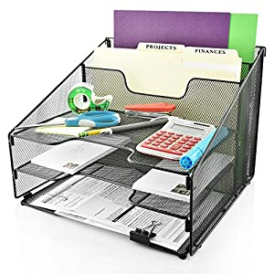 Desk Organizer File Holder All-in-One With Non-Slip Pads by Desk Wiz | Black Metal Mesh Office Desktop File Organizer & Folder Organizer | For Paper, Letters, Mail, Supplies & Desk Accessories