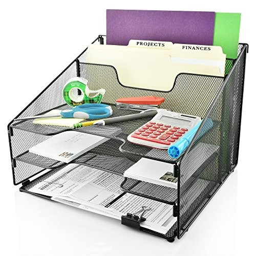Desk Organizer File Folder Holder All-in-One With Non-Slip Rubber Feet by Desk Wiz | Black Metal Mesh Office Desktop Supplies Accessories Organizer | Includes 3 Sticky Note Pads and 3 File Folders by Desk Wiz