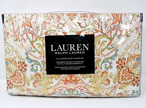 Ralph Lauren Floral Paisley Print 3pc King Duvet Cover Set Coral Orange Blue Green ()