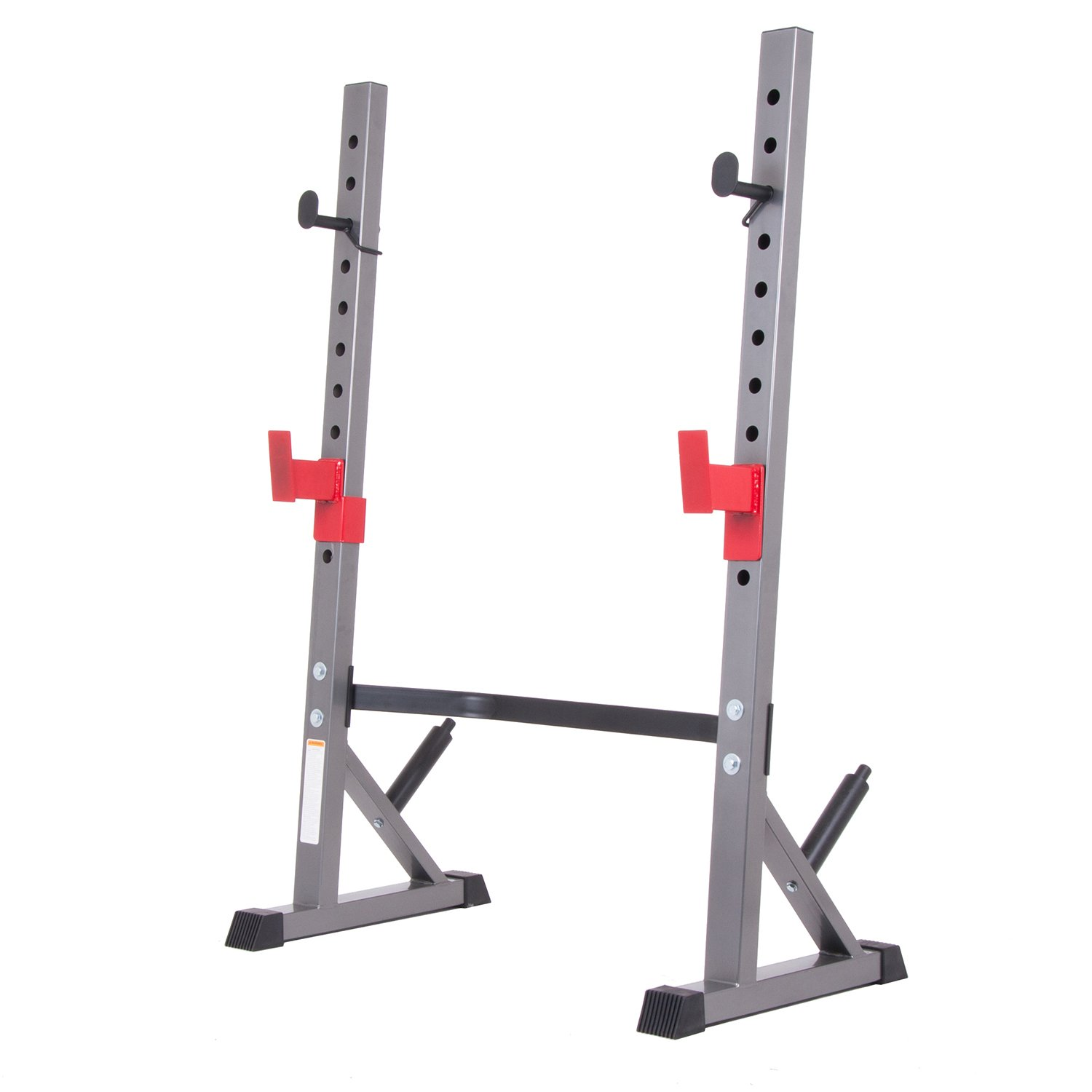 Body Champ BCB5280 Olympic Weight Bench with Adjustable Rack, Black Gray Silver Red