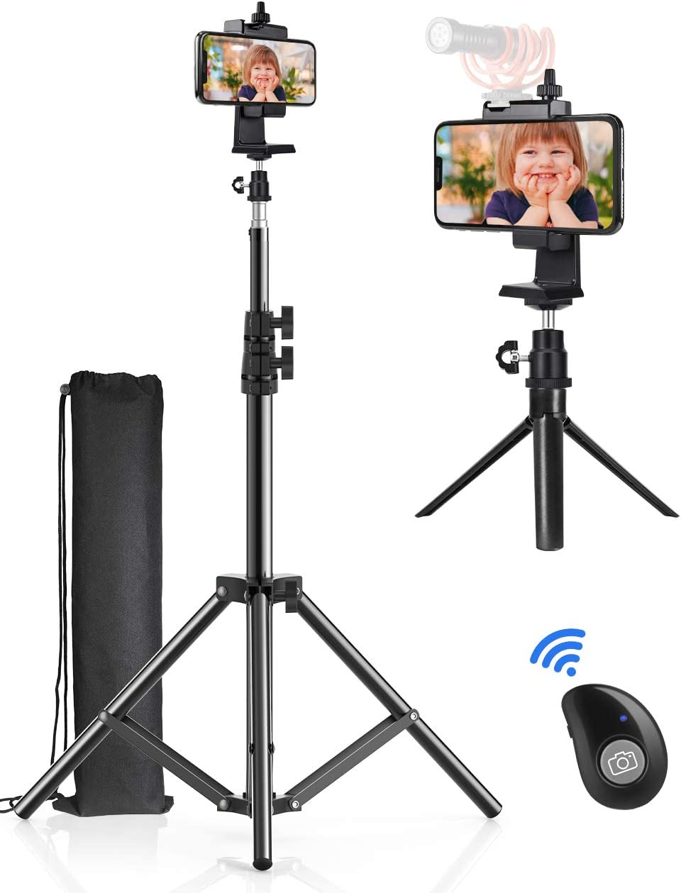 Phone Tripod, Pixel 51 inch Cell Phone Tripod Stand + Mini Desktop Tripod with Selfie Remote for Recording/Live Streaming/Vlogging, Flexible Phone Holder, 360 Rotation Ball Head,Sturdy Portable Tripod