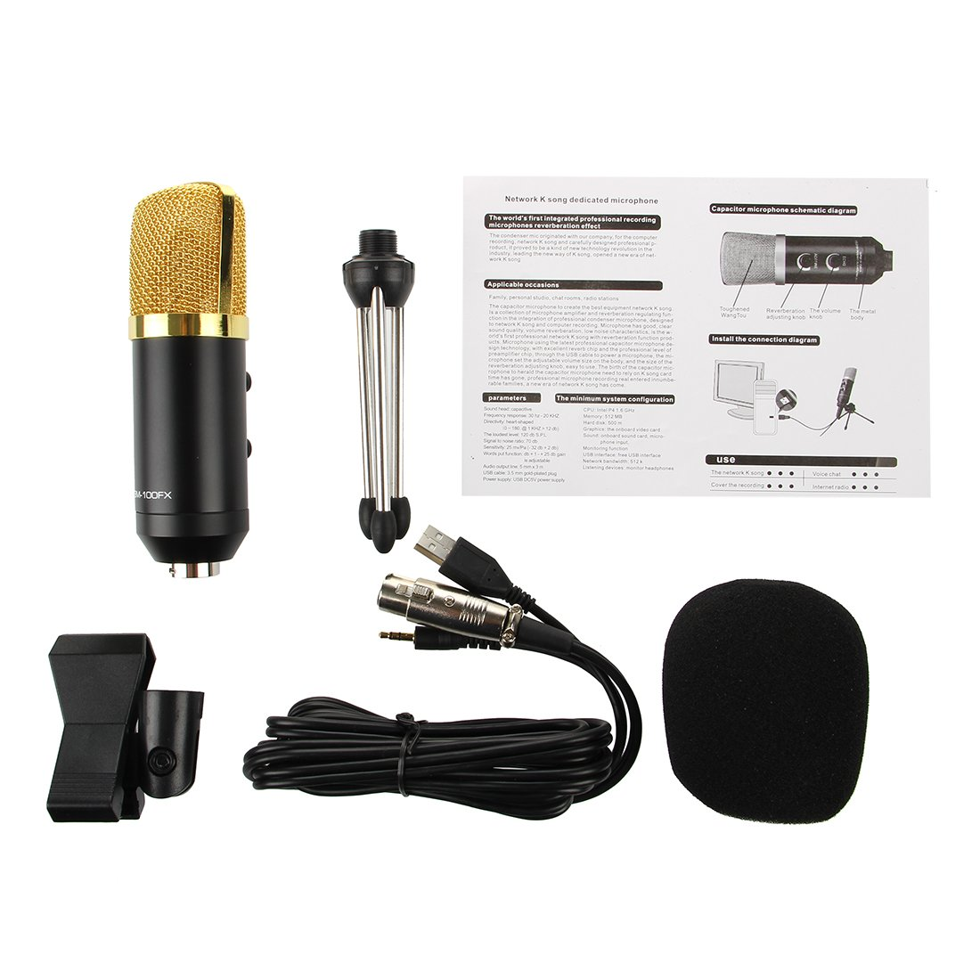 Sodial Usb Studio Condenser Recording Miniphone With Microphone Schematic On Wiring Diagram Sponge Sets Audio Cable Tripod Electronics